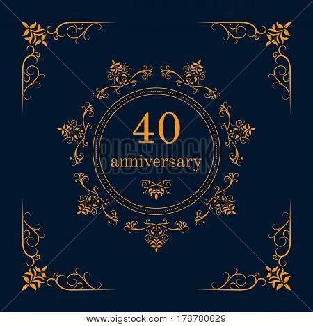 40 year anniversary celebration card,  anniversary background. Vector illustration