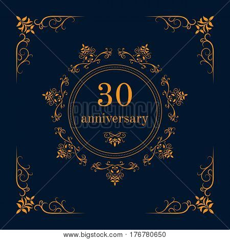 30 year anniversary celebration card,  anniversary background. Vector illustration