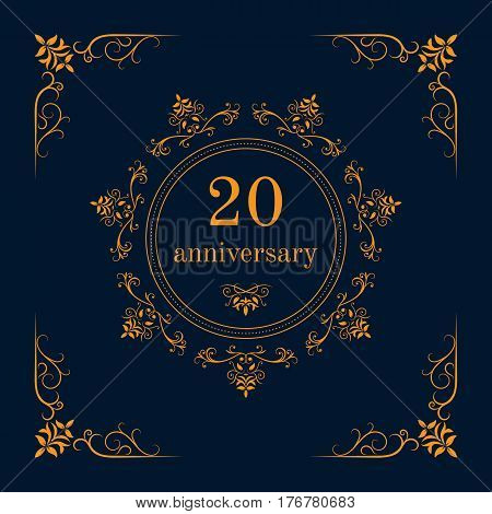 20 year anniversary celebration card,  anniversary background. Vector illustration