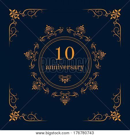 10 year anniversary celebration card,  anniversary background. Vector illustration