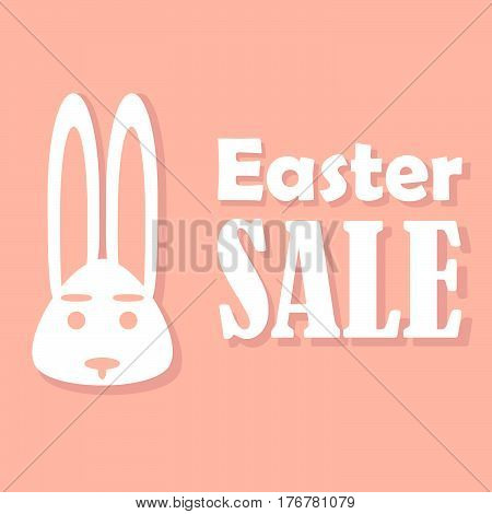 Easter card with sales on a holiday with a stylish design a rabbit on a pink background is depicted accompanied by shadows.