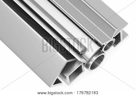 Metallurgical industry industrial products - group of rolled steel metal products (pipes profiles girders bars balks and armature) on white industrial 3D illustration
