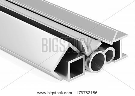 Metallurgical industry industrial products - group of rolled steel metal products (pipes girders profiles bars balks and armature) on white industrial 3D illustration.