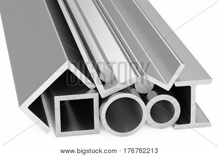 Metallurgical industry products - group of rolled steel metal products (pipes girders bars profiles balks and armature) on white industrial 3D illustration