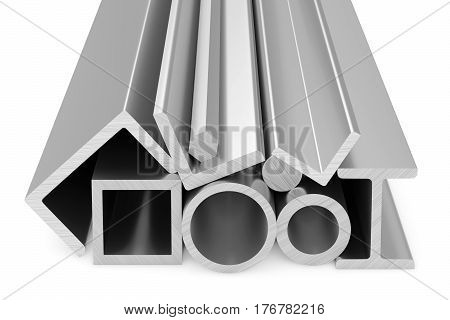 Metallurgical industry products - rolled steel metal products (pipes profiles girders bars balks and armature) on white industrial 3D illustration