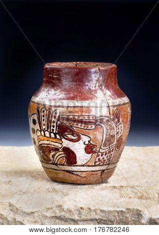 Mayan Pre Columbian warrior vase made around 600-1000 AD.