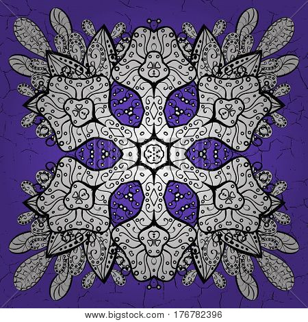 Damask pattern repeating background. Antique white repeatable sketch. White element on violet background. Blue violet floral ornament in baroque style.