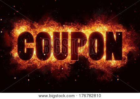 coupon fire flames burn burning text explosion explode sale
