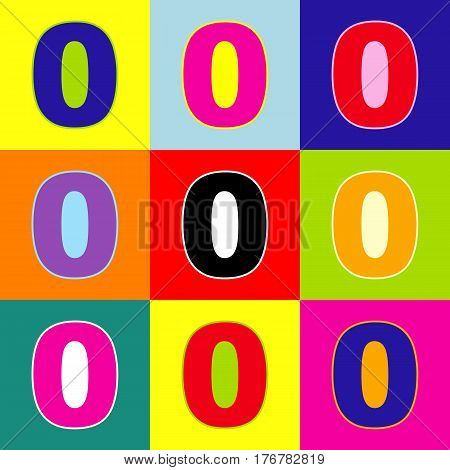 Number 0 sign design template element. Vector. Pop-art style colorful icons set with 3 colors.