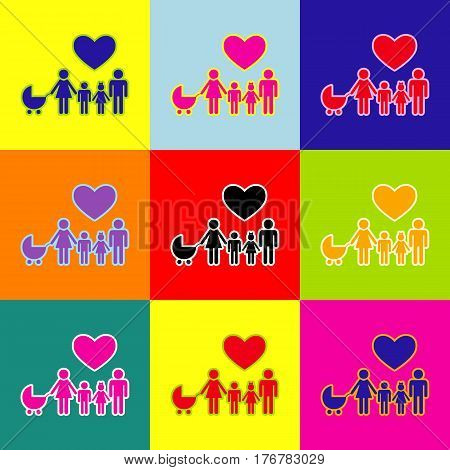 Family sign with heart. Husband and wife are kept children's hands. Vector. Pop-art style colorful icons set with 3 colors.