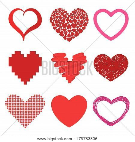 Differents style red heart vector icon isolated love valentine day symbol and romantic design wedding beautiful celebrate bright emotion passion sign illustration. Amour artwork simple romance shape.