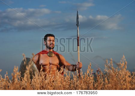 Athletic soldier with beard in red cloak wearing like spartan holding iron weapon in hand. Brunet warrior with bare torso looking away and going in attack with rounded shield and weapon. War in field.