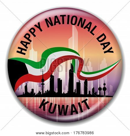 Happy National Day Kuwait Skyline And Flag Round Pin Badge