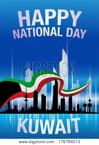 Happy National Day Kuwait Skyline And Flag Blue Poster