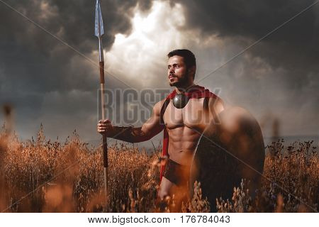 Warrior with beard and bare torso holding sword and shield confidently looking away and going away. Athletic brunet male like spartan or antique roman soldier with iron weapon and red cloak.