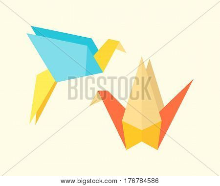 Origami birds crane abstract nature icon craft symbol art creative decoration japan and paper fly wing dove geometric concept vector illustration. Graphic asia animal shape decorative hobby.