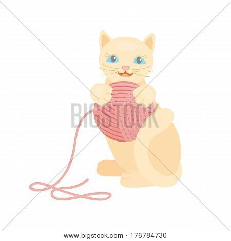 Cat breed cute kitten red pet portrait fluffy young adorable cartoon animal and pretty fun play feline sitting mammal domestic kitty vector illustration. Beautiful posing playful paw design.