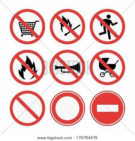 Prohibition signs set vector illustration. Warning danger symbol forbidden safety information. Protection no allowed caution information.