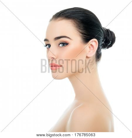 Beautiful Young Woman Over White Background. Beauty Female Portrait. Antiaging, Skincare, Beauty Treatment. Healthcare Concept. poster