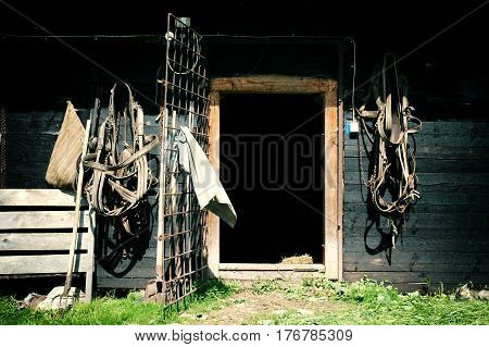 Horses Harness Hanging On A Barn