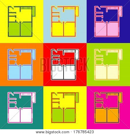 Apartment house floor plans. Vector. Pop-art style colorful icons set with 3 colors.