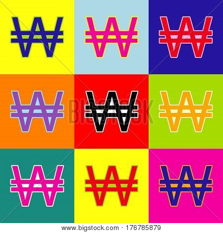 Won sign. Vector. Pop-art style colorful icons set with 3 colors.