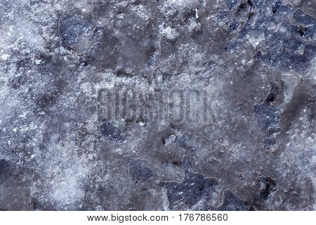 abstract natural background of texture of frozen water or ice in a puddle