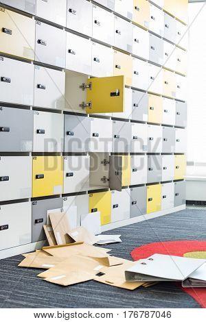 Interior of messy locker room in creative office