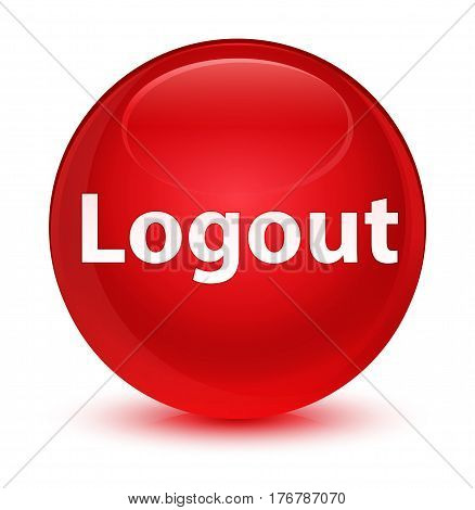 Logout Glassy Red Round Button