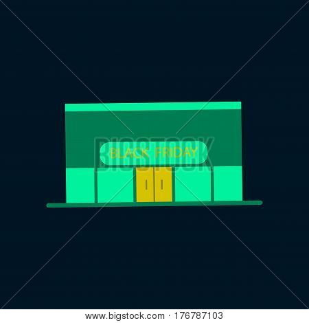 Flat icon of Shop Black Friday business