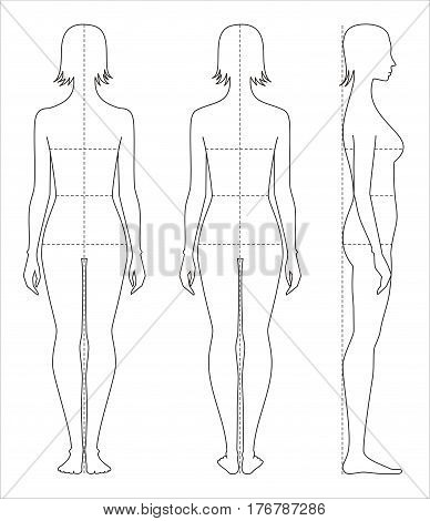 Vector illustration of women's body proportions and measurements for clothing design and sewing. Front back side views