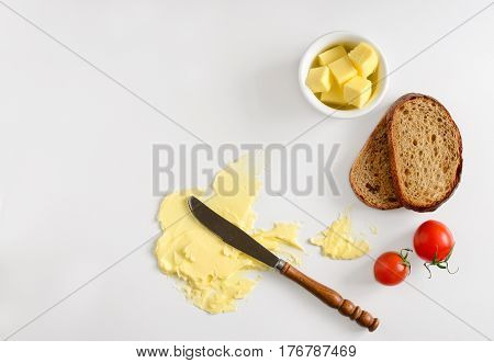 Butter spread or margarine product background with a space for a text flat lay view from above