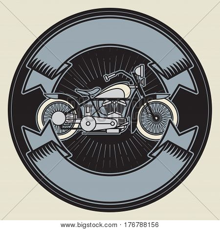 Biker motorcycle. Bikers event or festival emblem with space for text. Motorcycle label t-shirt design. Vector illustration.