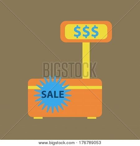 Flat icon of cash machine sale discounts