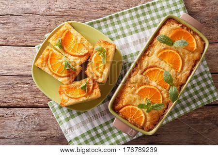 Orange Filo Pie Portokalopita Close-up In A Baking Dish. Horizontal Top View