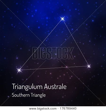 Triangulum australe southern triangle constellation in the night starry sky. Vector illustration
