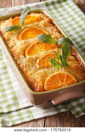 Orange Filo Pie Portokalopita Close-up In A Baking Dish. Vertical
