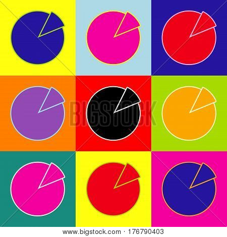 Finance graph sign. Vector. Pop-art style colorful icons set with 3 colors.