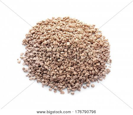 Pile of cat litter isolated on white