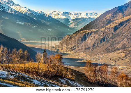 panorama trentino alto adige val venosta church mountain winter autumn