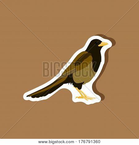 magpie paper sticker on stylish background bird