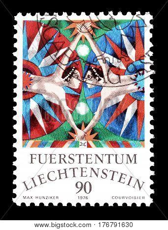 LIECHTENSTEIN - CIRCA 1976 : Cancelled postage stamp printed by Liechtenstein, that shows Gemini.