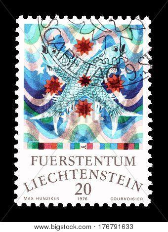 LIECHTENSTEIN - CIRCA 1976 : Cancelled postage stamp printed by Liechtenstein, that shows Pisces.