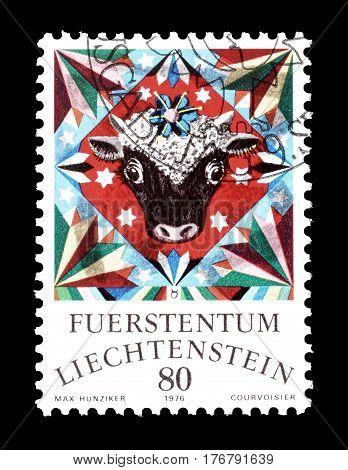 LIECHTENSTEIN - CIRCA 1976 : Cancelled postage stamp printed by Liechtenstein, that shows Horoscope sign.