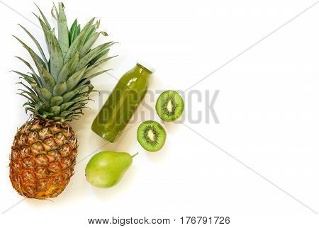 Bottle Of Kiwi, Pineapple, Pear Juice Isolated On White And Ingredients.