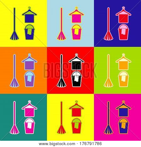 Broom, bucket and hanger sign. Vector. Pop-art style colorful icons set with 3 colors.