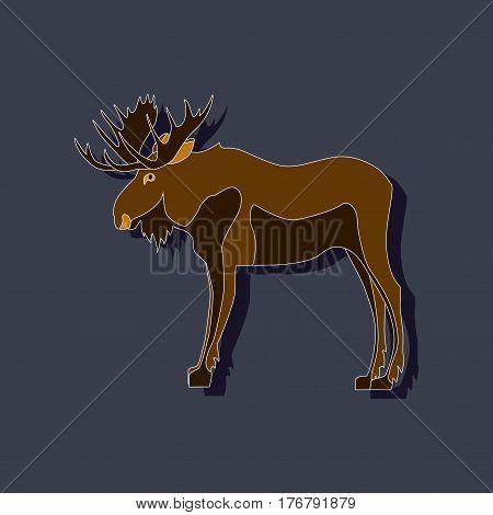 paper sticker on stylish background Elk animal