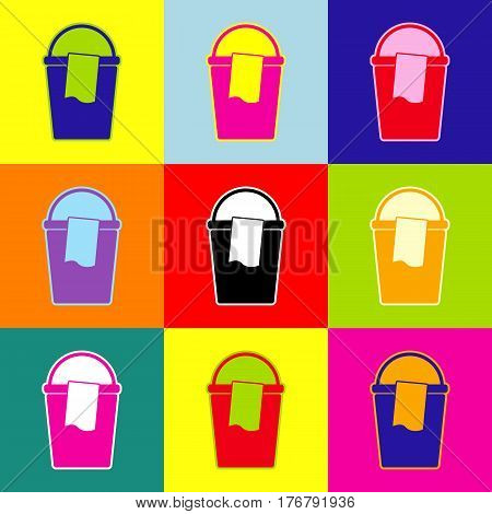 Bucket and a rag sign. Vector. Pop-art style colorful icons set with 3 colors.