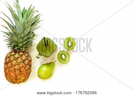 A Jar Of Kiwi, Pineapple, Pear Juice Isolated On White And Ingredients.