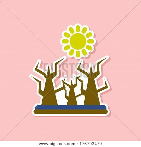 paper sticker on stylish background nature drought disaster